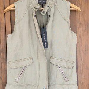Michael Stars Women Vest Military Zip up Linen